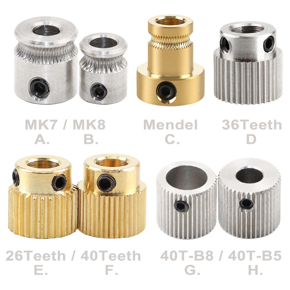 MK7 MK8 Extruder 26/36/40 Teeth Gear Reprap Mendel Extruder Drive Gear Brass Bore 5mm 3d Printer Feeding Hobbed Wheel