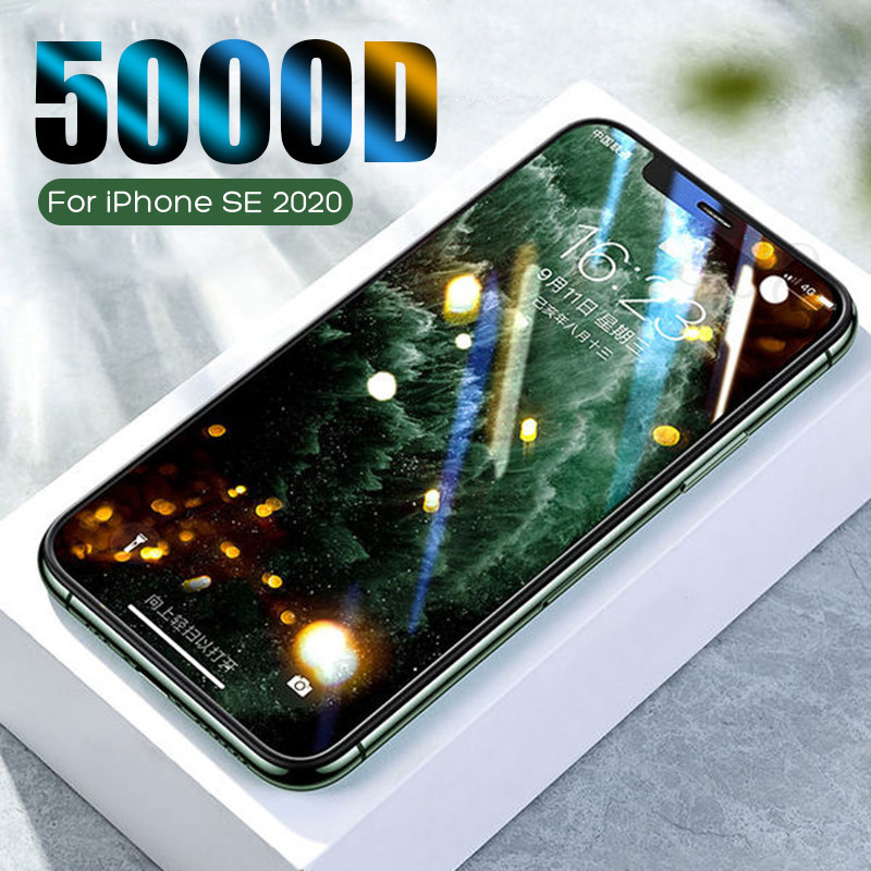 5000D Full Cover Protective Glass On The For IPhone SE 2020 7 8 6 6s Plus Screen Protector For IPhone 11 Pro X XR XS Max Glass