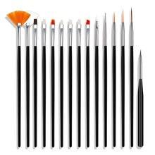 CYSHMILY 15 pçs/set Escova Do Prego Pintura Pen kit Ferramenta de Desenho Da Arte Do Prego Caneta broca Ponto Colorido Prego Liner Pincel Caneta