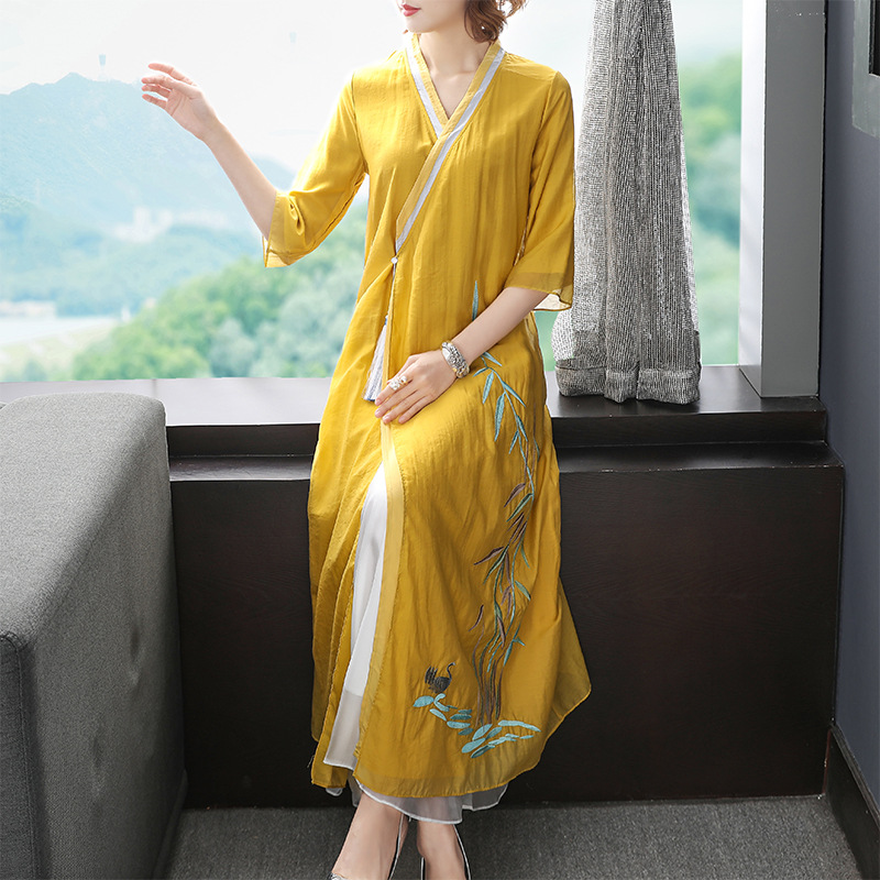 2020 spring chinese national style Traditional embroidery Improved cheongsam Zen suit Tea suit Chinese style long Splicing dress