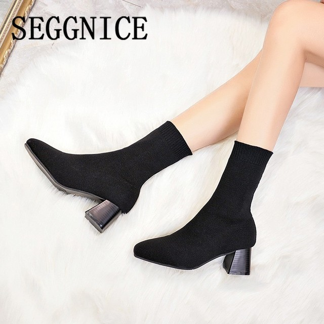 Women Boots Sock Knitting Winter 2019 Fashion High Heel Shoes Ladies Sock Boots Square Heels Stretch Fabric Woman Ankle Booties