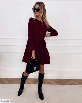 New Spring Autumn Dress Women Elegant O-Neck Long Sleeves Multi-layer Ruffles Hem Solid Party Dresses Casual Slim Vestidos 2