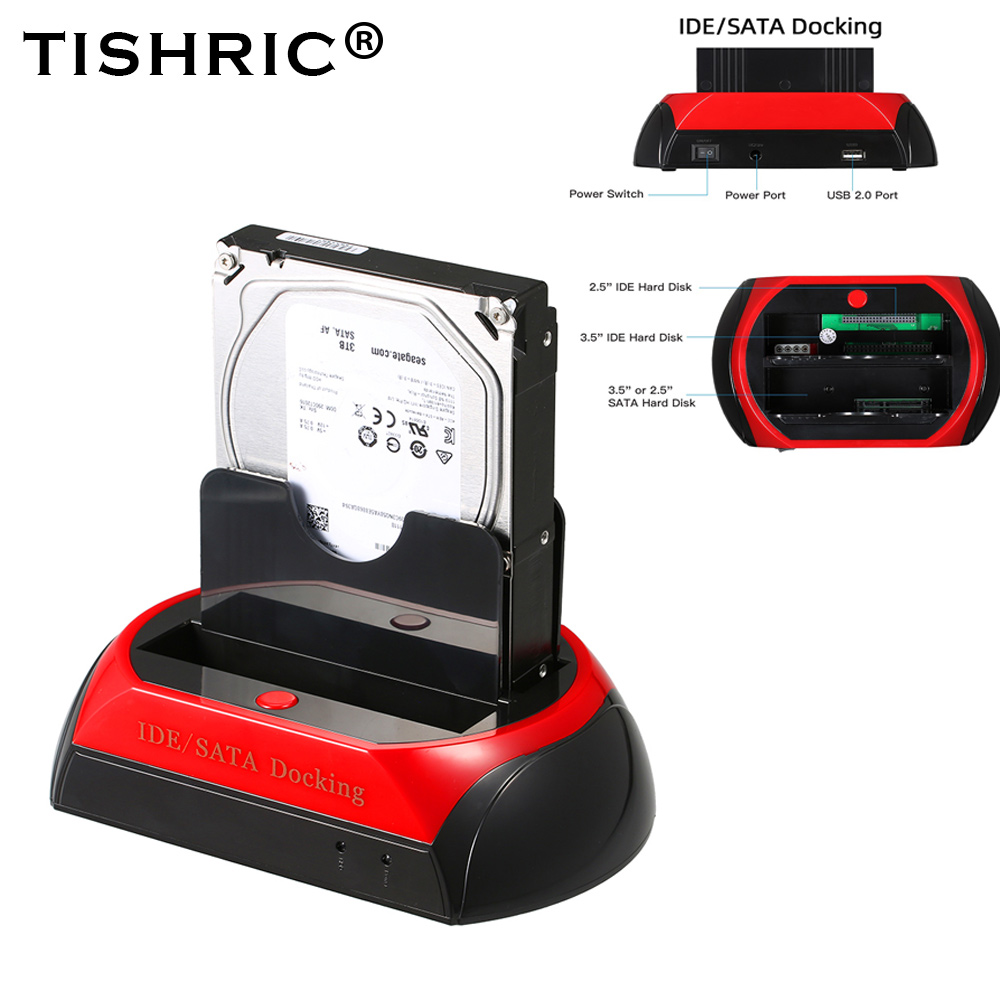 TISHRIC ALL In One HDD Docking/Dock Station HD Dual SATA IDE To Usb 2.0 2.5 3.5 External Hard Drive Reader Housing Case HD BOX