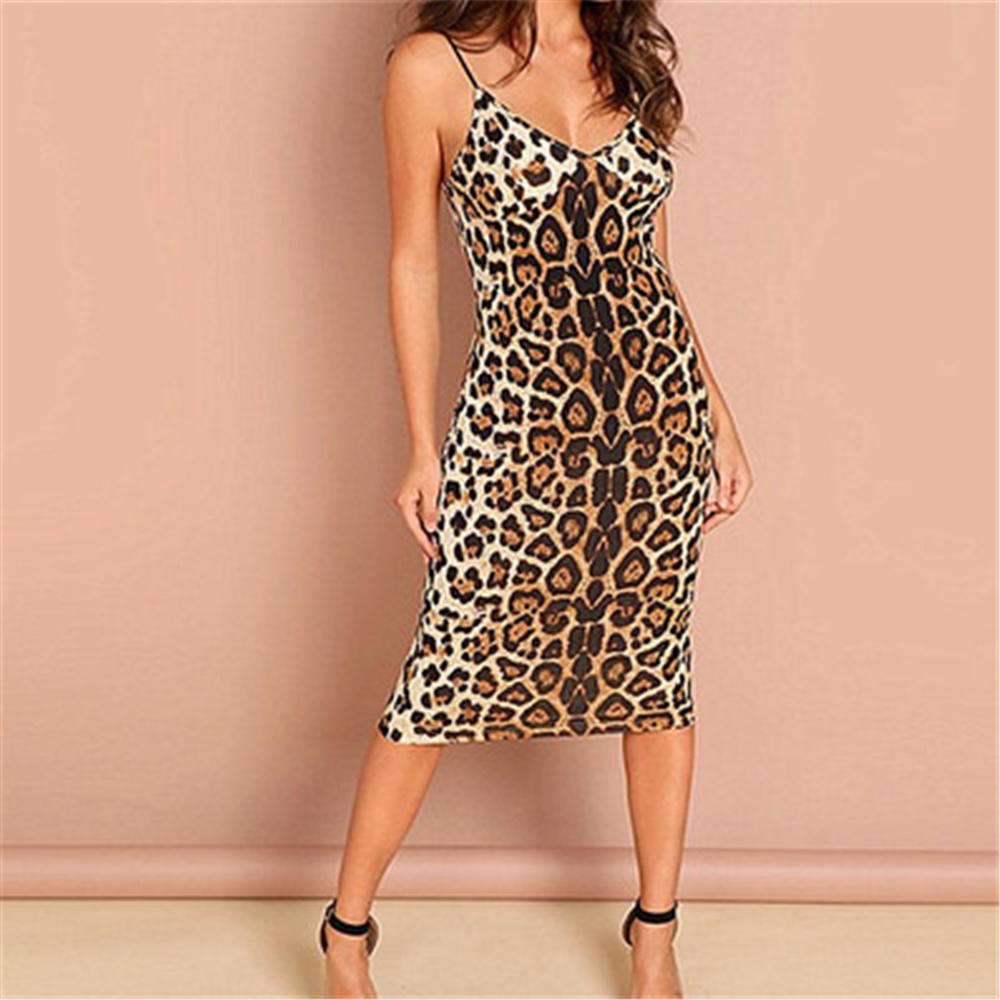 Leopard Printed <font><b>Summer</b></font> <font><b>Dress</b></font> <font><b>Women</b></font> <font><b>Sexy</b></font> <font><b>Spaghetti</b></font> <font><b>Strap</b></font> <font><b>Dress</b></font> <font><b>Body</b></font> Midi Backless <font><b>Sexy</b></font> Sheath Fitted Slim Bodycon Club <font><b>Dress</b></font> Ropa image