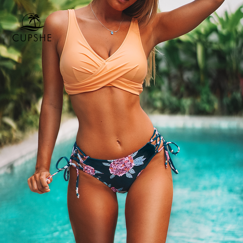New Product  CUPSHE Orange And Purple Floral Lace-Up Bikini Sets Women Boho Two Pieces Swimsuits 2020 Girl Beach