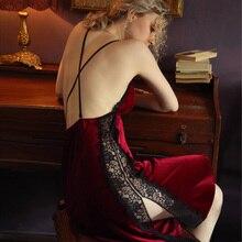 เซ็กซี่ Nightgown ผู้หญิงชุดนอนฤดูใบไม้ร่วง/ฤดูหนาวกำมะหยี่สีทอง Beauty Back Suspender ชุดลูกไม้ด้านข้างแยก Temptation Nightdress ร้อน