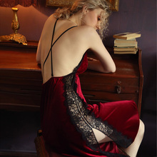Sexy Nightgown Women Sleepwear Fall/winter Gold Velvet Beauty Back Suspender Dress Lace Side Split Temptation Hot Nightdress