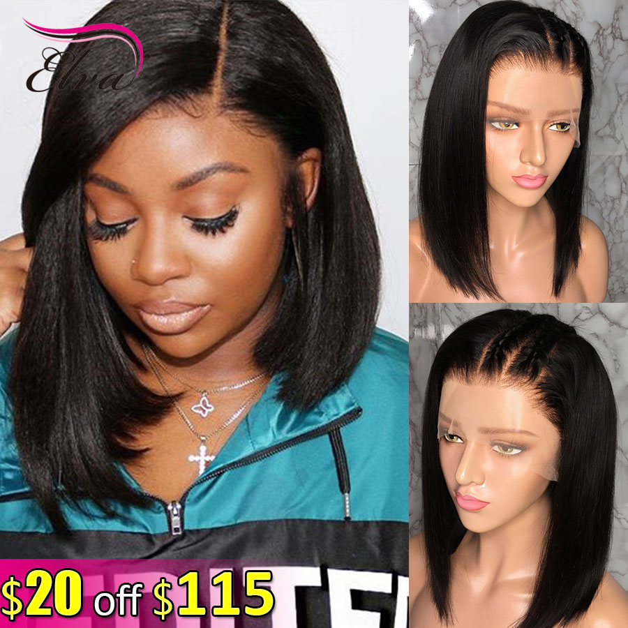 Elva Hair 13x6 Lace Front Human Hair Short Bob Wigs Pre Plucked With Baby Hair 150% Remy Straight Hair Wigs For Black Women