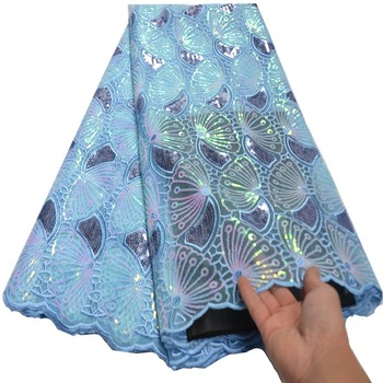 sky blue embroidery African french lace Couple lace tulle fabric with sequins Nigerian evening gown dress high quality mv577