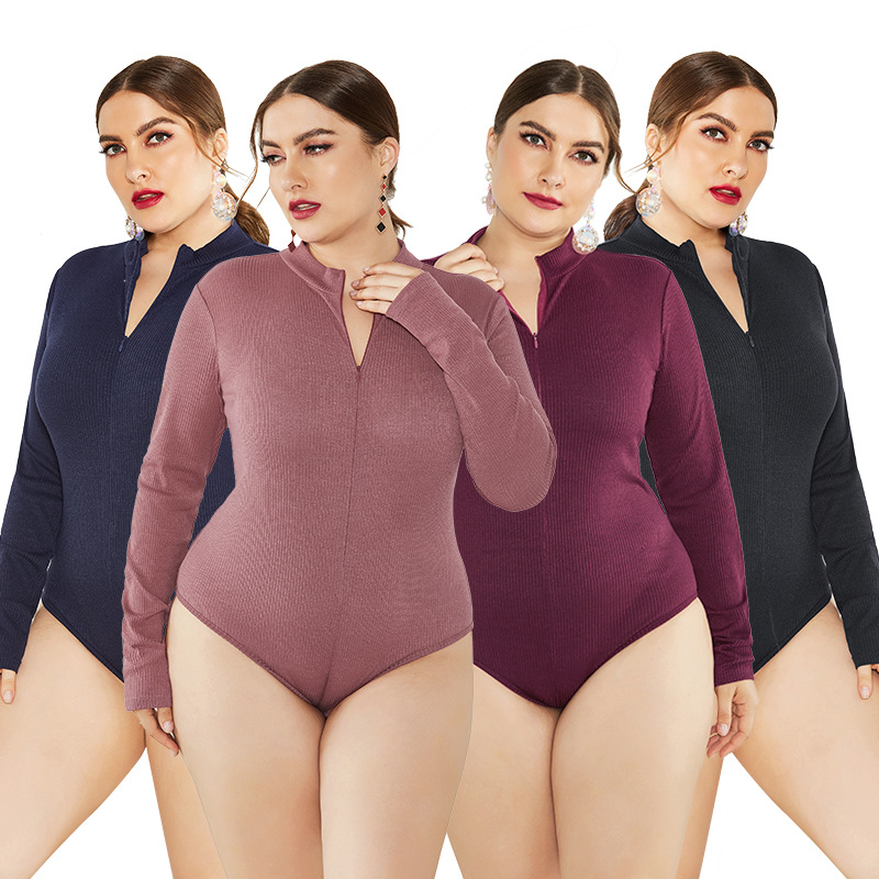 New Brand Autumn Winter Jumpsuits For Women Long Sleeve Sweater Knitted Bodysuit Plus Size Women Clothes Zipper Skinny Romper