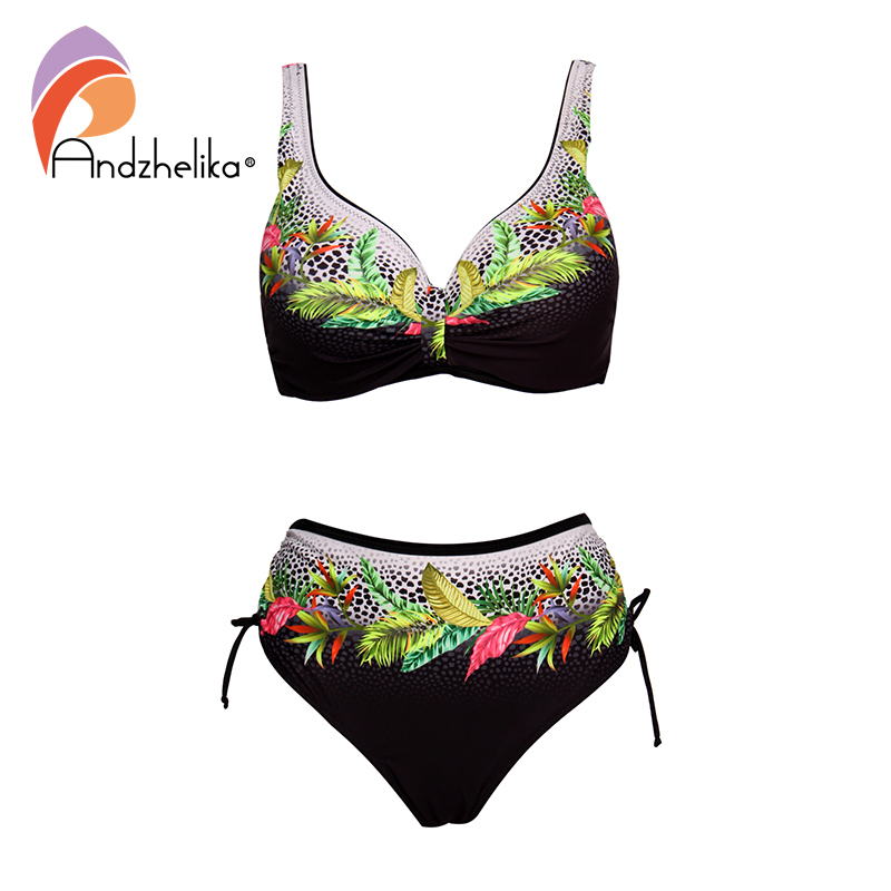 Andzhelika Floral High-waisted Bikini Sets Sexy Push Up Swimsuit 2020 Summer Two Pieces Swimwear Women Plus Size Bathing Suits