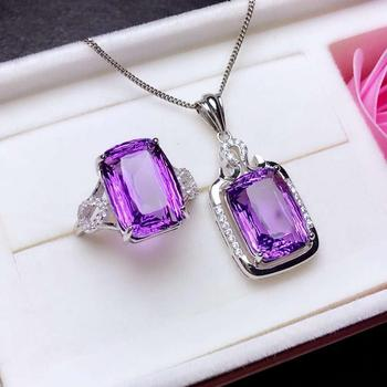newexquisite purple Amethyst  ring and necklace jewelry set 925 sterling silver jewelry natural big size gem  Valentine gift
