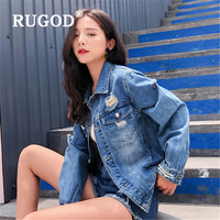 RUGOD 2019 Autumn Spring New Styles Shredded Vintage Demin Jacket Women Fashion Plus Size Turndown Collar Kpop Clothes
