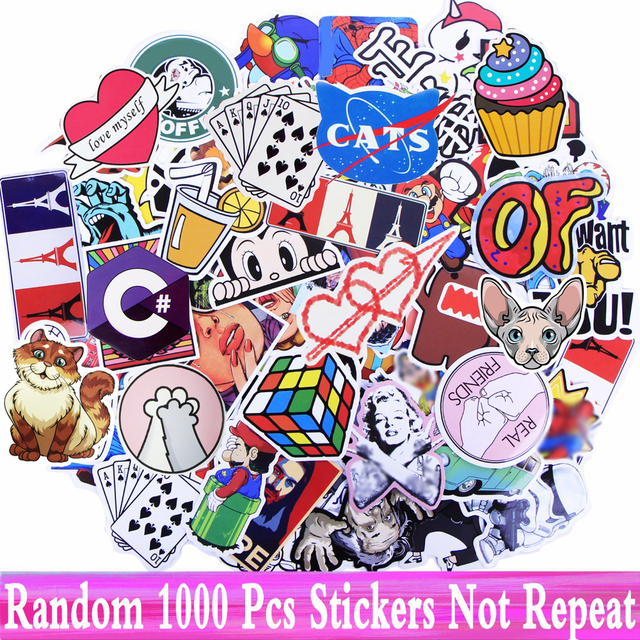 Random 1000 Pcs JDM Stickers Funny Cartoon DIY Cool Sticker For Car Laptop Skateboard Motorcycle Furniture Decal Not Repeat Toys