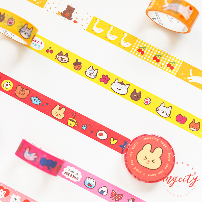 Cute Cat Etude Series Journal Washi Tape DIY Scrapbooking Sticker Label Kawaii Masking Tape School Office Supply
