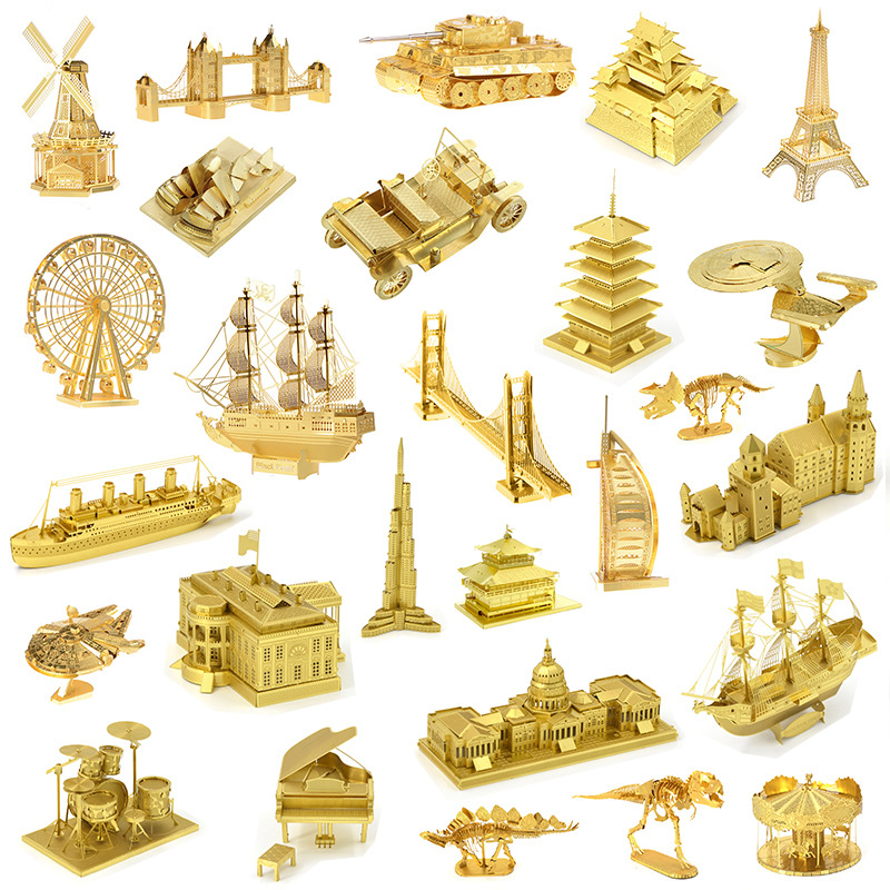 Gold Building Dinosaur 3D Metal Puzzle Model Kits DIY Laser Cut Assemble Jigsaw Toy Desktop Decoration GIFT For Audit Children
