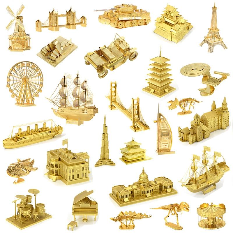 Gold Building Dinosaur 3D Metal Puzzle Model Kits DIY Laser Cut Assemble Jigsaw Toy Desktop Decoration GIFT For Audit Children