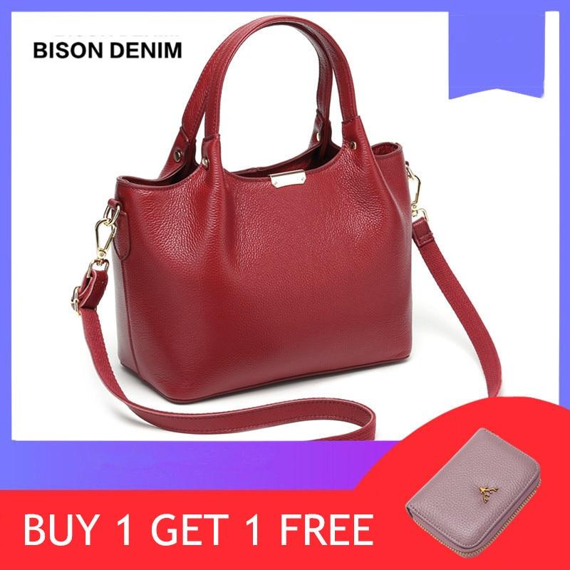 BISON DENIM Genuine Leather Luxury Handbags Women Bags Designer Women Tote Bag Casual Top-handle Bag Female Shoulder Bag B1621