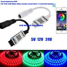 Mini rgb bluetooth controlador dc 5v 12v 24v música bluetooth led controlador de tira de luz para rgb tira conduzida