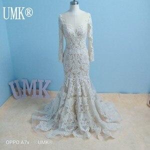 Image 3 - UMK Long Sleeve Mermaid Wedding Dress 2020 Chic Lace Boho Wedding Gowns Pearl sequins See Through Sexy Vestido De Noiva