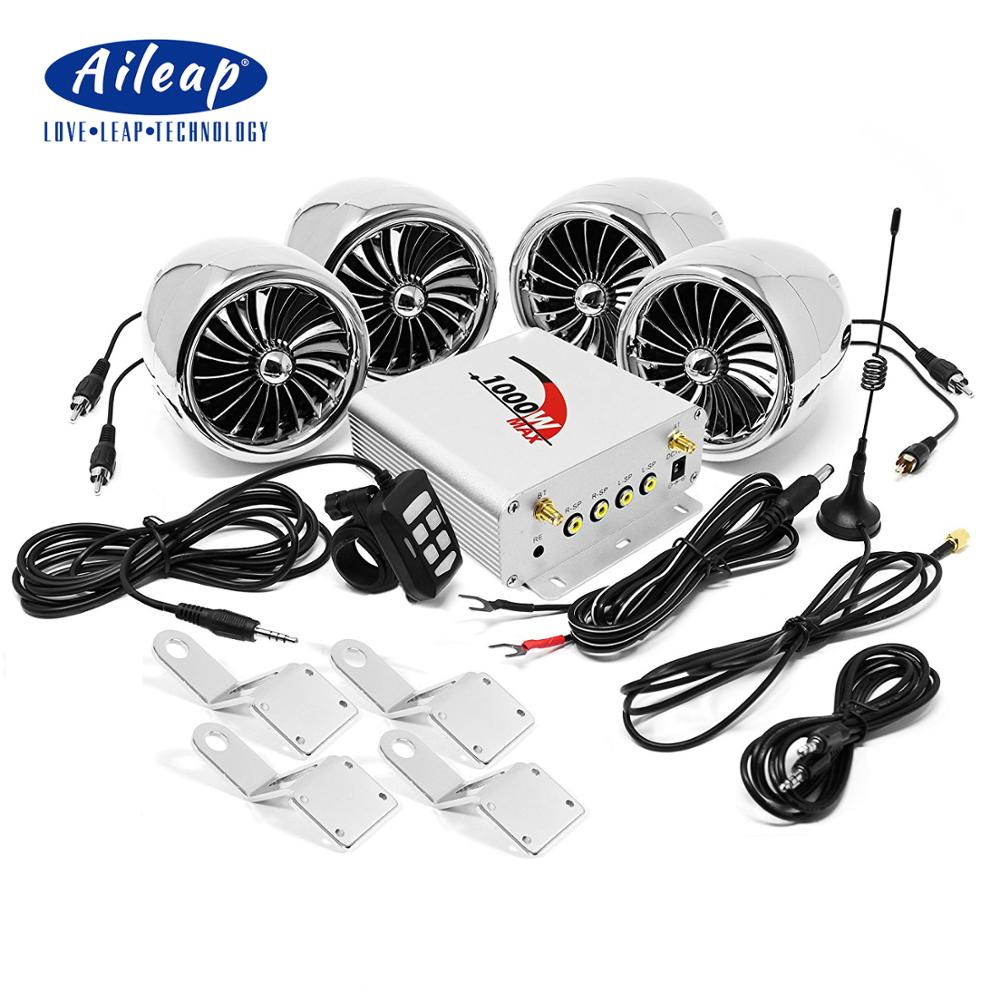 Aileap 1000W Amplifier Bluetooth Motorcycle Stereo 4 Speakers MP3 Audio FM Radio System For Motorcycles/ATV/UTV/Boat (Chrome)