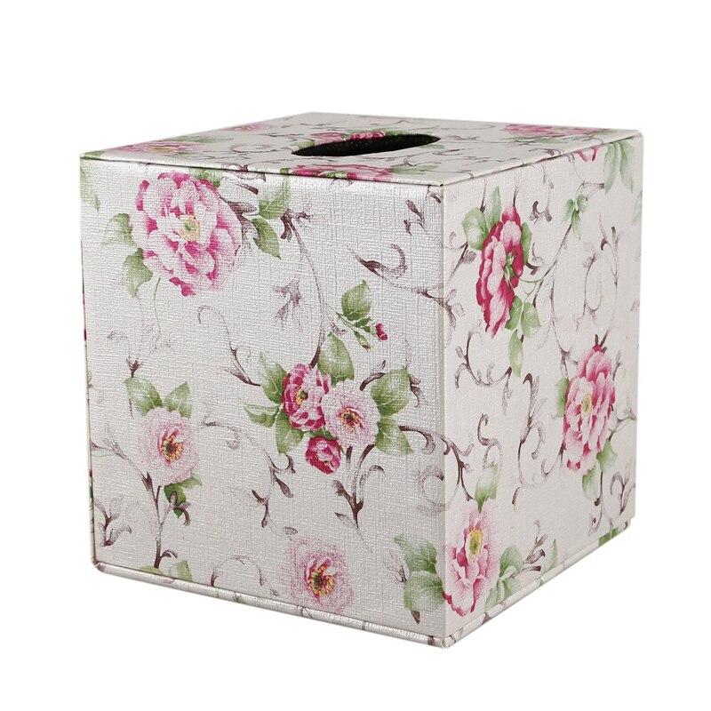 PU Leather Tissue Box Cover Square Paper Bedroom Tissue Holder Napkin Box