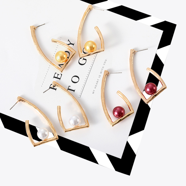 2019 Rushed Sale Tin Alloy Trendy Geometric Women Brincos Aros Earings Euro american Fashion Alloy Pearl Earrings And Wholesale in Stud Earrings from Jewelry Accessories