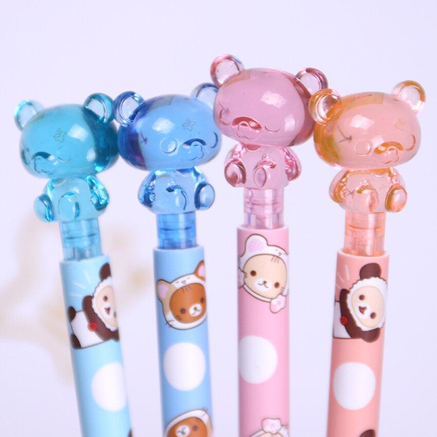 1 шт. 0,7 мм Kawaii пластиковый механический карандаш милый медвежонок пресс автоматическая ручка для детей подарок школьные принадлежности Канцтовары
