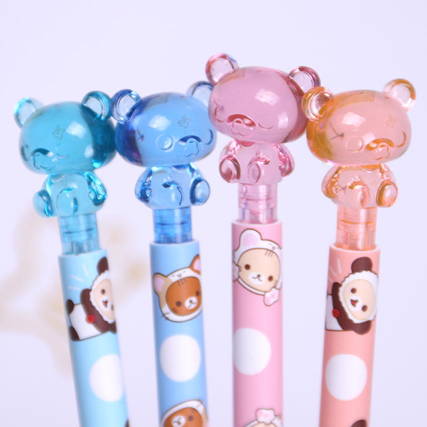 1PC 0.7MM Kawaii Plastic Mechanical Pencil Lovely Bear Press Automatic Pen For Kid Gift School Supplies Stationery