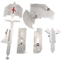 6Pcs Welding Gauge Weld Inspection Gauge Weld Seam / Round Corner / Crown Test Size Ruler Angle Measurement Kit Combination Set