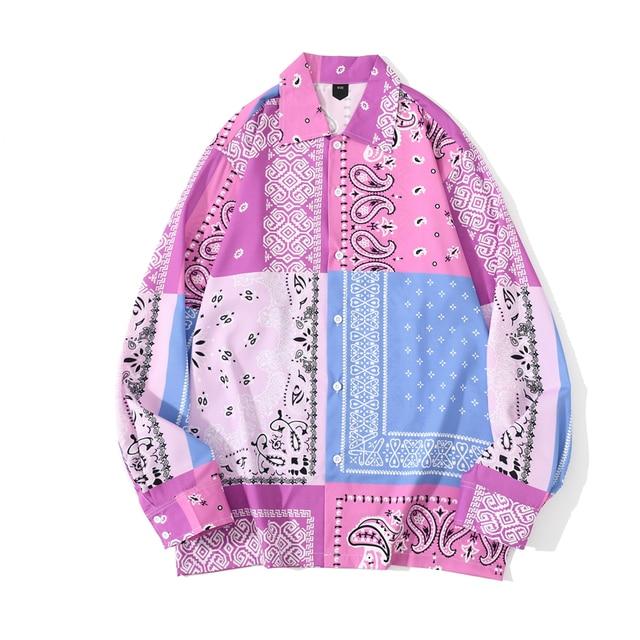 [EWQ] 2021 Spring Japan Patchwork Bandana Shirt Print Streetwear Shirts Long Sleeve Blouse Plus Size Tops Trendy Ladies Shirts 1