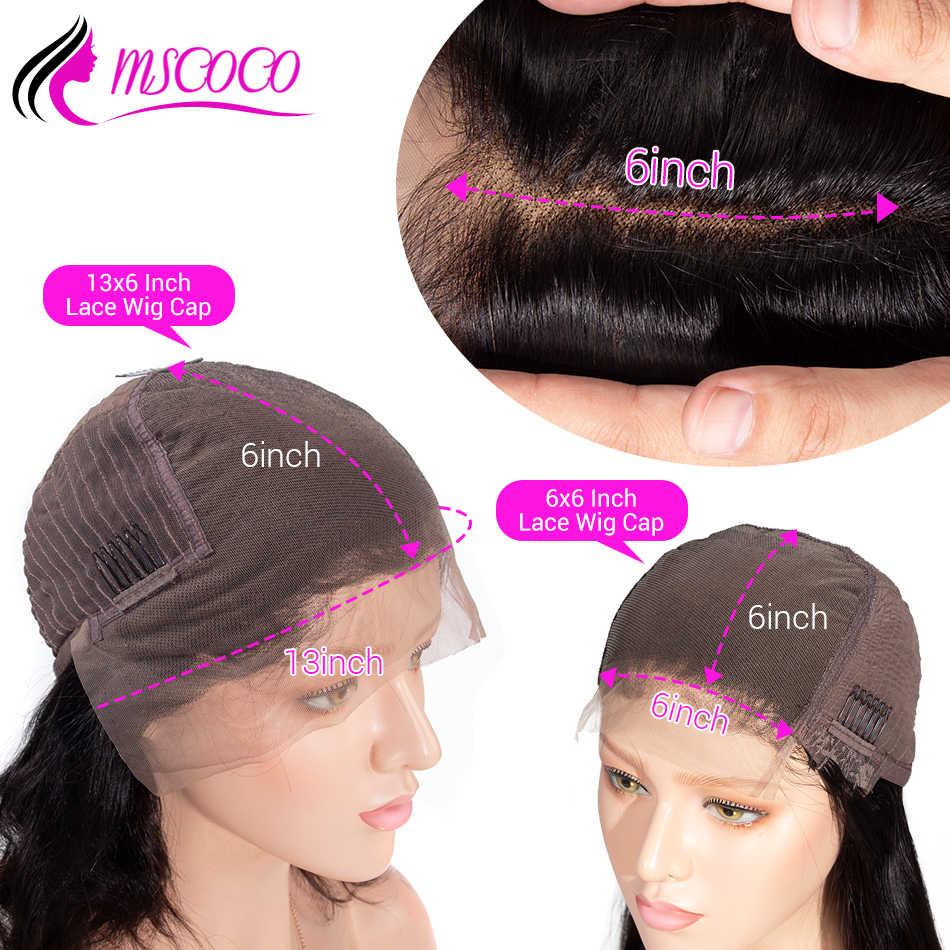Mscoco peruka body wave 13x6 koronkowa peruka na przód 180 220 gęstość wstępnie oskubane z dzieckiem włosy Remy brazylijski koronki przodu peruki z ludzkich włosów