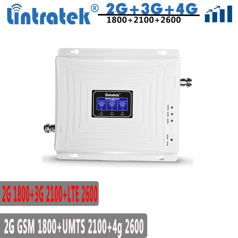 Lintratek 2100 1800 2600Mhz Signal Booster 3G 4G LTE Repeater 4G 1800 2600 Signal Amplifier 3G 2100Mhz Internet Booster KW20C