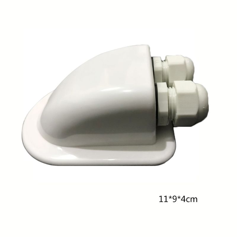 Cable Entry ABS Solar <font><b>RV</b></font> Yacht Stand Roof Duct Double Hole Round Junction <font><b>Box</b></font> White image