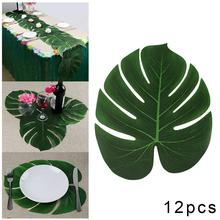 12pcs/Lot Green Artificial Monstera Palm Leaves Wedding Birthday Hawaiian Party Decoration Festival Theme Supplies For Trop H6D5