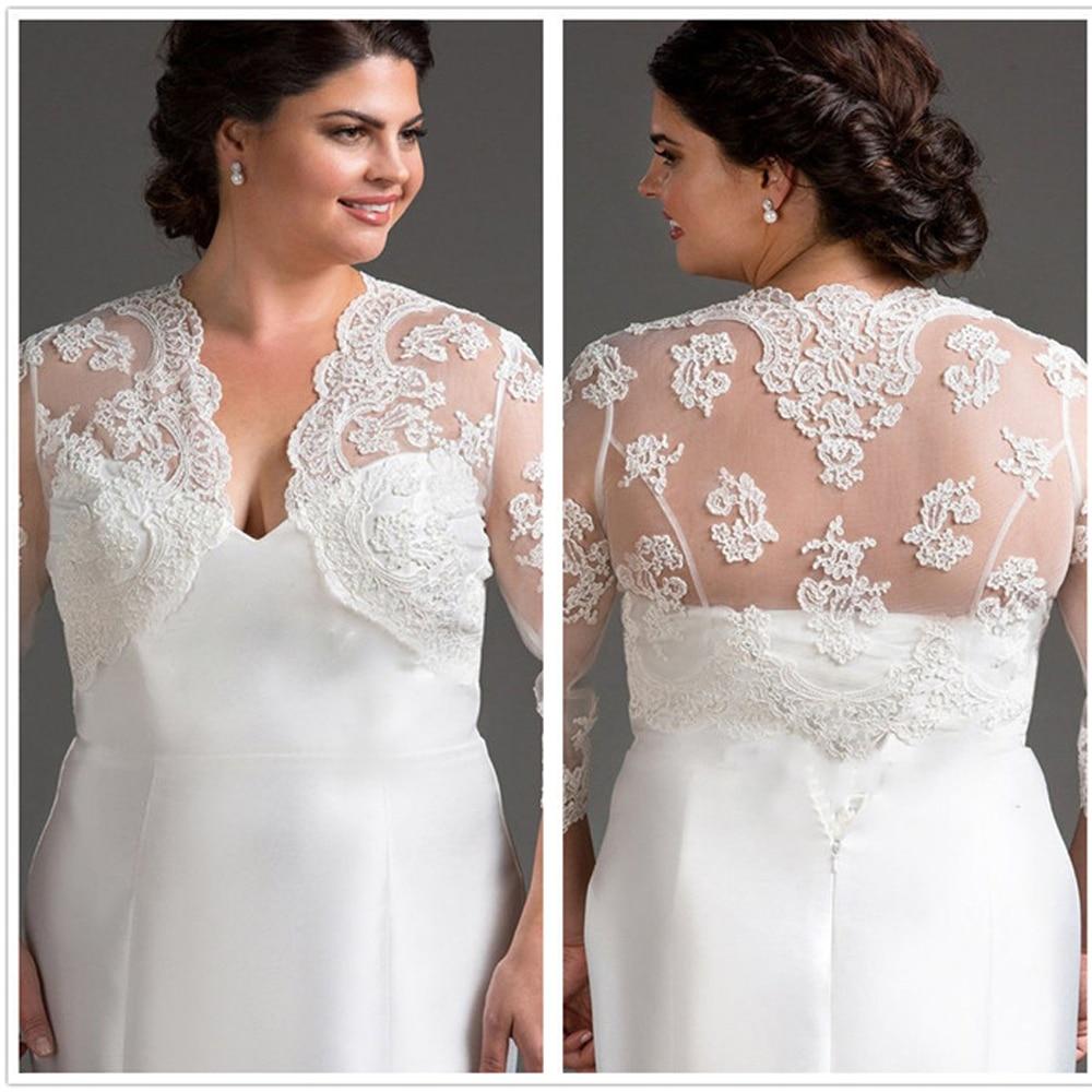 Lace 3/4 Long Sleeve Wedding Bolero Bridal Wraps for Wedding Party Prom Cheap Ivory Plus Size Bride Jacket Bolero Shrug Custom
