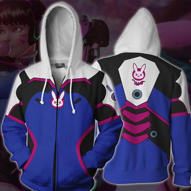 Anime Game Hoodie Sweatshirt 3D Printing Overwatches DVA DJ Cosplay Costume Women Men Couple Hooded Jacket Top Clothing 6
