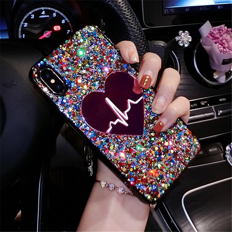 3D Love Heart Sequin Bling Case For Huawei P40 PRO Cover Coque For Huawei P40 LITE E Case For Huawei Y7p Nova 7I