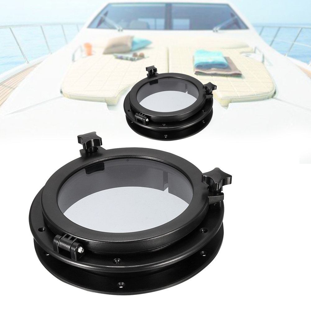 21cm/8inch Black RV Car Boat Yacht Window Round Shape Opening Portlight Hatch Car Replacement Porthole ABS Durable