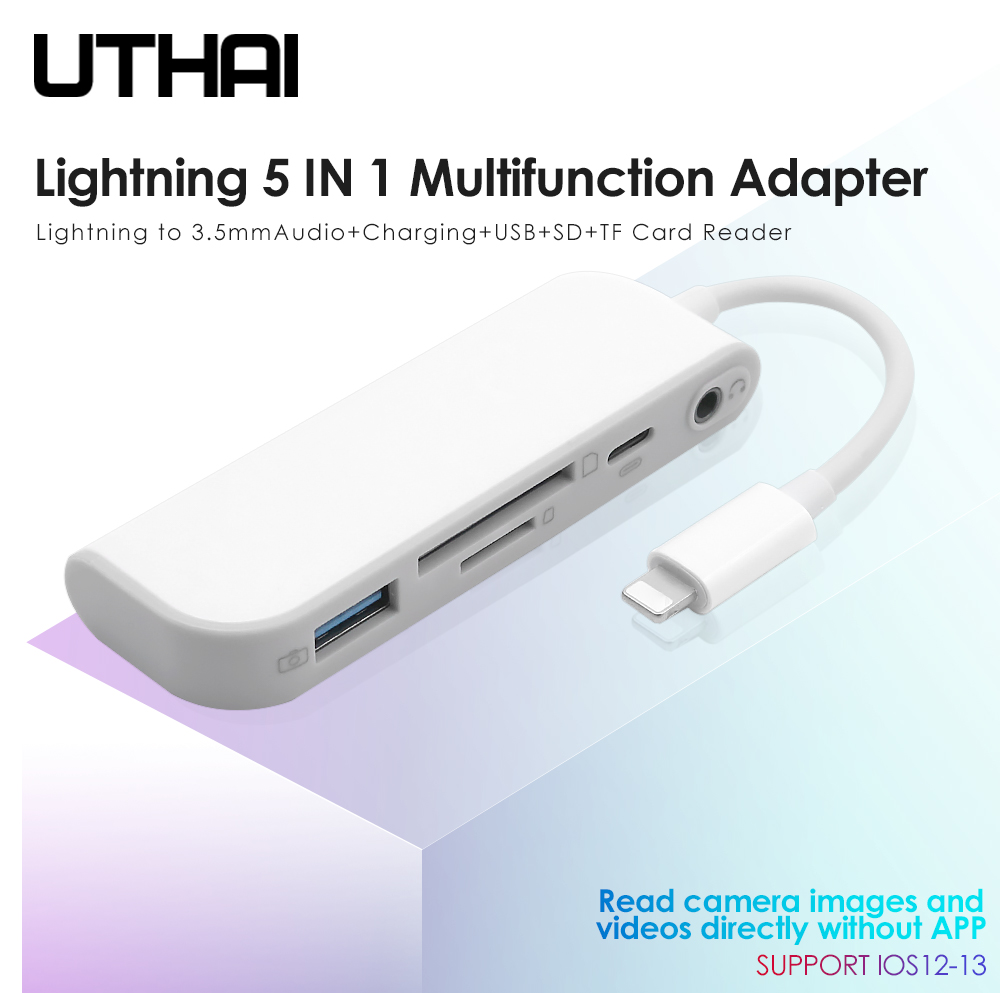 UTHAI D16 Lightning Adapter To SD TF Multi Card Reader For Iphone X XR XS MAX 11 3.5mm Audio USB For Camera All In 1 Converter