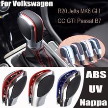 Автомобиль красный/синий рукоятка для рычага переключения передач палка матовый хром для VW Golf 6 7 R GTI Passat B7 B8 CC R20 Jetta MK6 GLI DSG эмблема