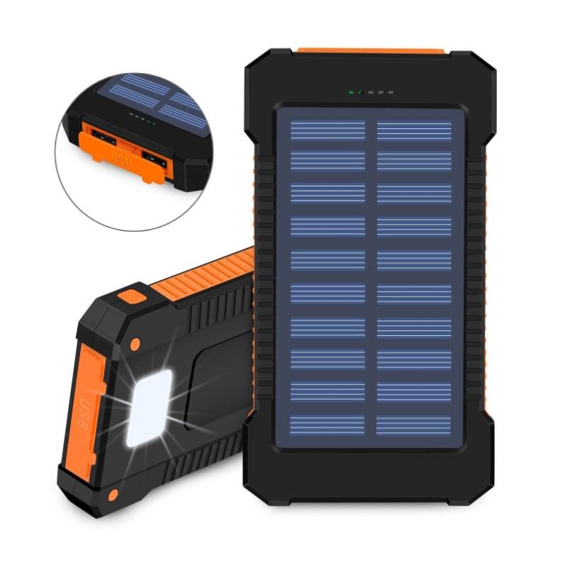 30000mAh Solar Power Bank Waterproof Solar Charger Dual USB External Charger Powerbank for Xiaomi huawei iPhone 7 8 Samsung