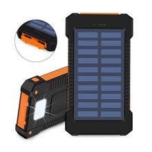 8000mAh güneş enerjisi bankası su geçirmez güneş enerjisi şarj cihazı çift USB harici şarj edici güç bankası Xiaomi huawei iPhone 7 8 Samsung