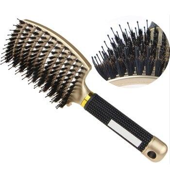 Hair Brush Scalp Massage Comb Hairbrush Bristle&Nylon Women Wet Curly Detangle Hair Brush for Salon Hairdressing Styling Tools