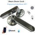 Дверной замок со сканером отпечатка пальцев ручка код Bluetooth IOS Android телефон один раз код разблокировки запись деревянный электронный дверно...