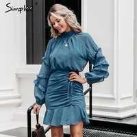 Simplee Autumn polka dot women dress Elegant winter long sleeve ruffle drawstring office dress Retro female party mini dress new