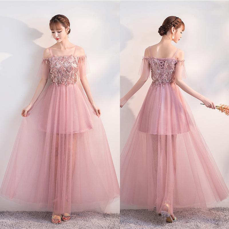Pink Bridesmaid Dress Elegant Wedding Party Junior Sequined Tulle Illusion Sexy Sister Prom Dress Ladies Long Gown Black Vestido