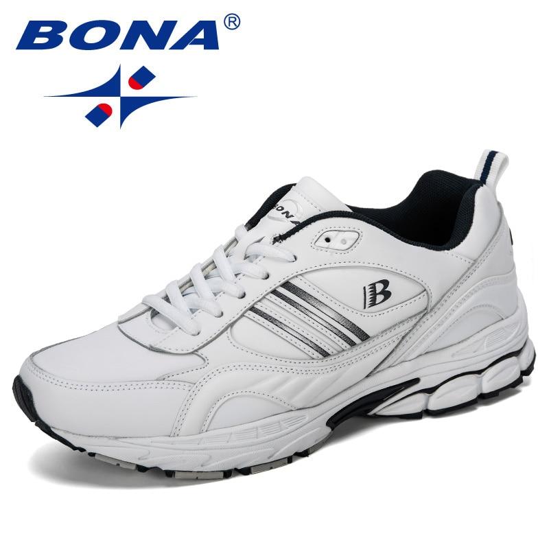 BONA 2019 New Popular Running Shoes Men Outdoor Sneakers Cow Split Light Sport Walking Trendy Athletic Shoes Male Comfortable
