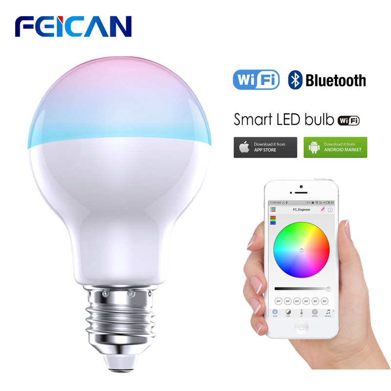 FEICAN LED Light Bulb E27 LED Lamp RGBW Wifi RGB Bulbs 9W AC85-240V Bluetooth Dimmable Timing Smart Bulb Ambient Lighting image