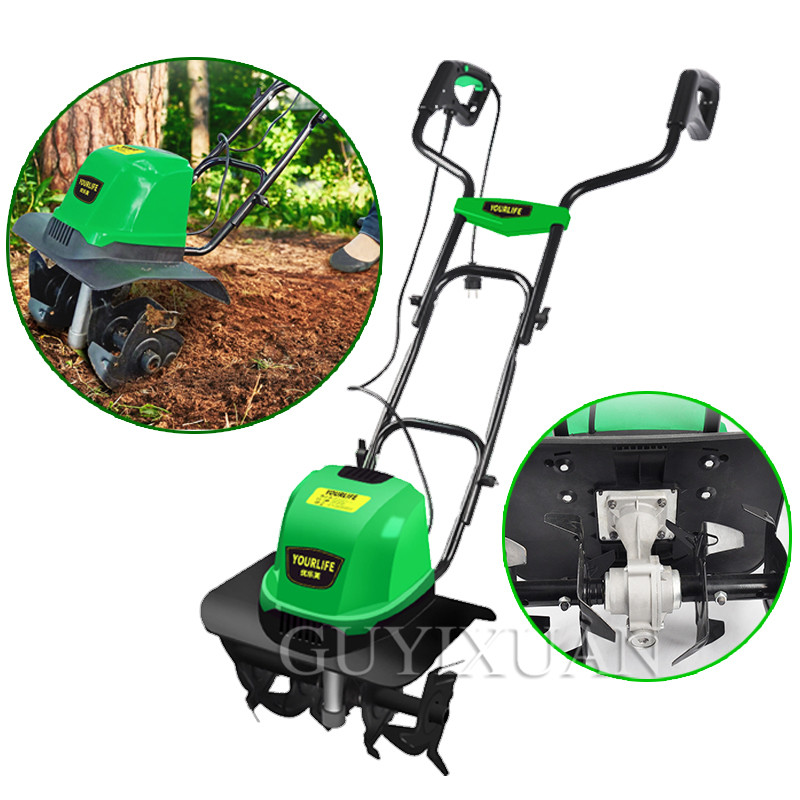220V/1500W Small Plow Machine Tiller Household Multifunction Mowing Loose Soil Planing Machine Electric Ripper